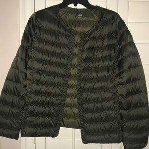 UniQLO olive snap coat XL